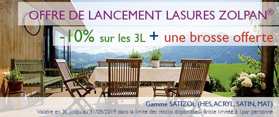 Offre de lancement -10% sur Lasures Zolpan