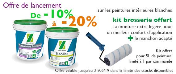 Offre de lancement -10% à -20% sur les peinture intérieures en Blanc Zolpan